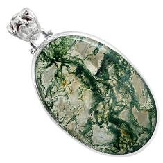 Natural green moss agate oval 925 sterling silver pendant jewelry a30746
