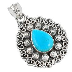 925 sterling silver blue sleeping beauty turquoise pear pendant jewelry a30753