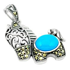 Blue sleeping beauty turquoise swiss marcasite 925 silver pendant a45184