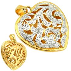 925 silver natural white diamond 14k gold heart pendant jewelry a53456