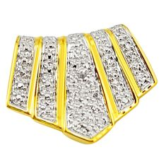 Natural white diamond 925 sterling silver 14k gold pendant a71545