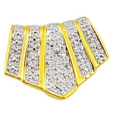 Natural white diamond 925 sterling silver 14k gold pendant a71552