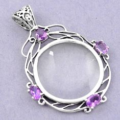 Edwardian magnifying glass purple amethyst 925 sterling silver pendant a82093