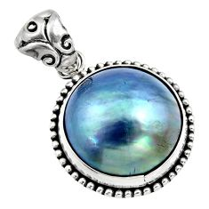 13.70cts natural titanium pearl 925 sterling silver pendant jewelry c7809