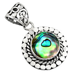 925 sterling silver 3.65cts natural green abalone paua seashell pendant c7811