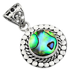 3.42cts natural green abalone paua seashell 925 sterling silver pendant c7812