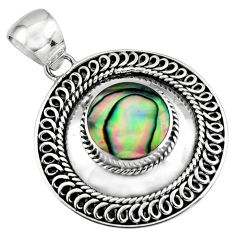 4.22cts natural green abalone paua seashell 925 sterling silver pendant c7814