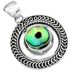 925 sterling silver 4.02cts natural green abalone paua seashell pendant c7815