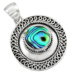4.02cts natural green abalone paua seashell 925 sterling silver pendant c7816