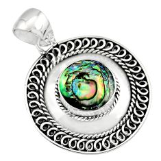 3.91cts natural green abalone paua seashell 925 sterling silver pendant c7819