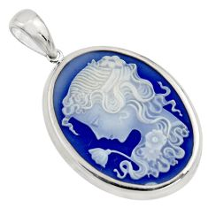 17.57cts white lady flower cameo 925 sterling silver pendant jewelry c7842