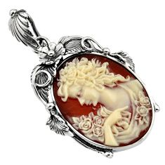 925 sterling silver 25.90cts victorian princess cameo pendant jewelry c7867