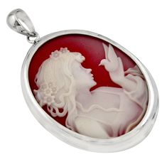 24.08cts white lady bird cameo 925 sterling silver pendant jewelry c7872