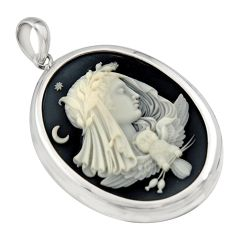 25.19cts white lady owl cameo 925 sterling silver pendant jewelry c7875