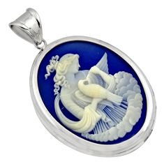 26.08cts white lady bird cameo 925 sterling silver pendant jewelry c7878