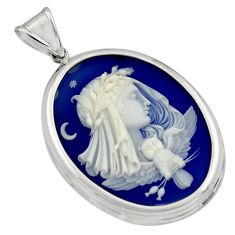 925 sterling silver 24.65cts white lady bird cameo pendant jewelry c7880