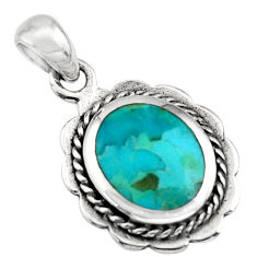925 sterling silver 2.67gms green arizona mohave turquoise enamel pendant c7927