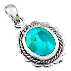 2.69gms green arizona mohave turquoise enamel 925 sterling silver pendant c7936