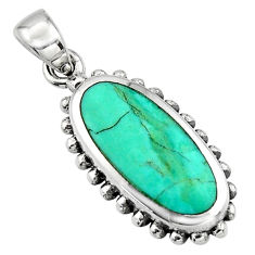 4.02gms green arizona mohave turquoise enamel 925 sterling silver pendant c7939
