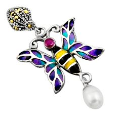 925 silver art nouveau white pearl marcasite enamel butterfly pendant c8120