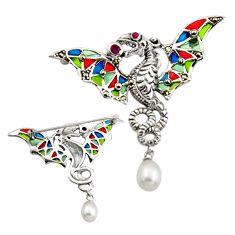 Art nouveau white pearl ruby enamel 925 sterling silver brooch pendant c8133