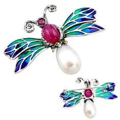Art nouveau pearl ruby enamel 925 silver butterfly brooch pendant c8147
