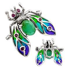 Art nouveau emerald ruby enamel 925 silver honey bee brooch pendant c8154