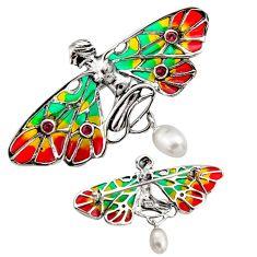 Art nouveau white pearl ruby enamel 925 sterling silver brooch pendant c8161
