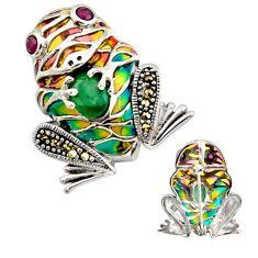 Art nouveau emerald marcasite enamel 925 silver frog brooch pendant c8165