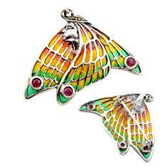 Art nouveau ruby marcasite enamel 925 silver butterfly brooch pendant c8169