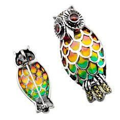 Art nouveau red garnet marcasite enamel 925 silver owl brooch pendant c8178