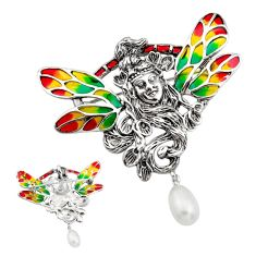 Art nouveau natural white pearl enamel 925 silver butterfly brooch pendant c8182