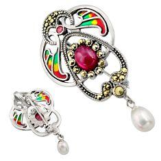 Art nouveau natural white pearl marcasite enamel 925 silver brooch pendant c8192