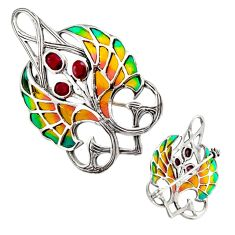 925 sterling silver art nouveau red ruby enamel brooch pendant jewelry c8193