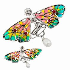 Art nouveau white pearl ruby enamel silver butterfly brooch pendant c8197