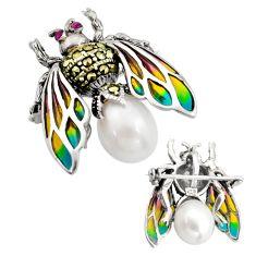 Art nouveau natural white pearl marcasite enamel 925 silver brooch pendant c8209