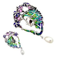 Art nouveau natural white pearl enamel 925 silver brooch pendant c8217