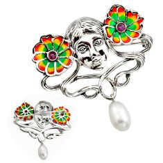 Art nouveau natural white pearl ruby enamel 925 silver brooch pendant c8222
