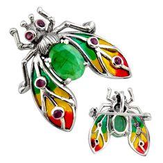 Art nouveau natural green emerald ruby enamel 925 silver brooch pendant c8250