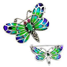 Art nouveau natural emerald marcasite enamel 925 silver brooch pendant c8254