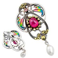 Art nouveau natural white pearl marcasite enamel 925 silver brooch pendant c8255