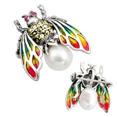 Art nouveau natural pearl marcasite enamel 925 silver brooch pendant c8256