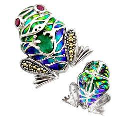 Art nouveau natural emerald marcasite enamel 925 silver brooch pendant c8259