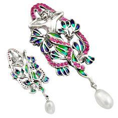 Art nouveau natural white pearl marcasite enamel 925 silver brooch pendant c8263