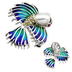 925 silver art nouveau natural white pearl marcasite enamel brooch pendant c8264