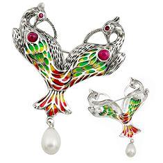 Art nouveau natural white pearl ruby enamel 925 silver brooch pendant c8265
