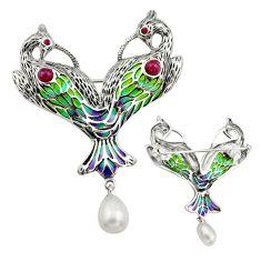 Art nouveau natural white pearl marcasite enamel 925 silver brooch pendant c8271
