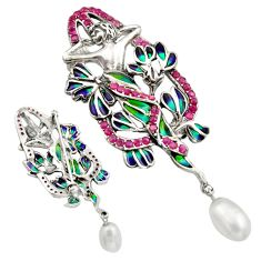 Art nouveau natural white pearl marcasite enamel 925 silver brooch pendant c8273