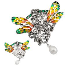 Art nouveau natural white pearl enamel 925 silver brooch pendant c8287