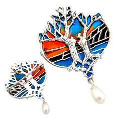 3.35cts art nouveau natural white pearl enamel 925 silver brooch pendant c8298